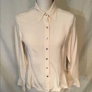 Talbots Cream Silk Tailored Blouse